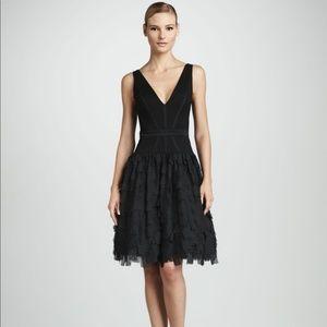 Aidan Maddox Tiered V-Neck Cocktail Dress Black 6
